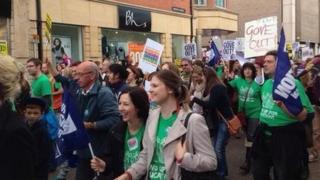 Teachers' strike protest march in Oxford