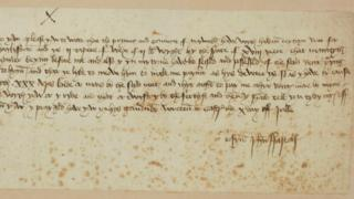Part of the letter from Sir John Fastolf to John Paston