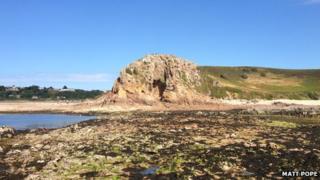 La Cotte dig site at low tide