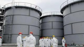 Tanks of radiation-contaminated water are seen at the Tokyo Electric Power Co's (Tepco) tsunami-crippled Fukushima Daiichi nuclear power plant in Fukushima prefecture in this file photo released by Kyodo on 1 March 2013