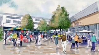 Artists impression of central square area of West Way development, suitable for community events