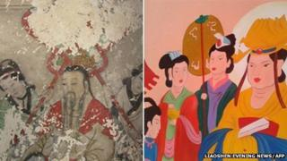 "Ancient Buddhist frescos in a temple in northern China before and after ""restoration"""