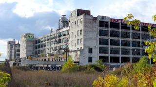 A Detroit paint factory is in a state of disrepair amidst the city's economic collapse