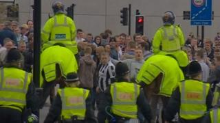 Police control crowds in Newcastle