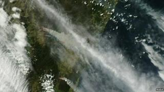 Fires seen from space.