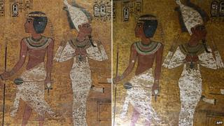 Two apparently identical photos of pictures in Tutankhamun's tomb - one is of the original, the other is of a copy. Photo on the left, copyright Factum Arte, photo on the right copyright AFP.