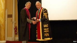 Professor Steven Bolsin (l) being presented with his medal by Dr J-P van Besouw