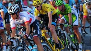 Chris Froome in the peloton at the Tour de France