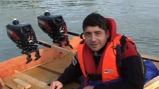 Dmitri Galitzine in his pumpkin boat