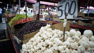 Fruit and vegetables on sale at a market in Melbourne