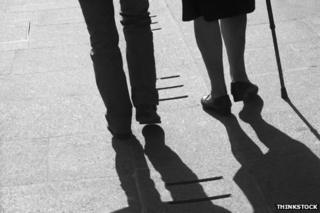 Couple in silhouette walking together
