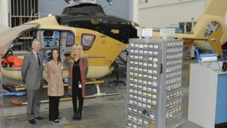 Midlands Air Ambulance chairman Brendan Connor with air operations manager Becky Tinsley and chief executive Hanna Sebright