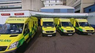 Ambulances at a hospital