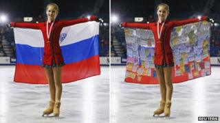 """Yulia Lipnitskaya with the Russian flag - and a blogger's take on the situation, with """"sponsors' messages"""" superimposed over the flag"""