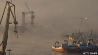 Fog over the port at Montevideo