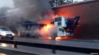 Crane fire on the M25