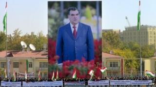 Giant billboards depicting President Imomali Rakhmon in Dushanbe. Photo: 3 November 2013