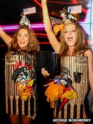 Amber Langford and Annie Collinge dressed as the Twin Towers