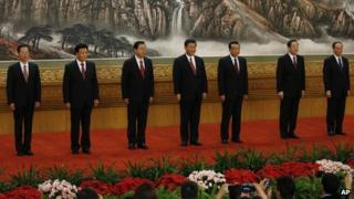File photo: members of China's Politburo Standing Committee, from left, Zhang Gaoli, Liu Yunshan, Zhang Dejiang, Xi Jinping, Li Keqiang, Yu Zhengsheng and Wang Qishan in Beijing's Great Hall of the People, 15 November 2012