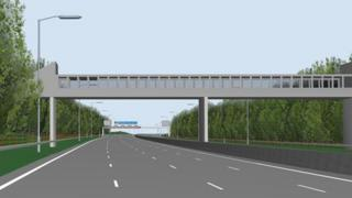 Computer image of a four-lane M62 motorway near Birch Services