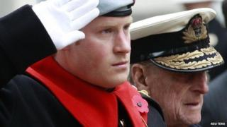 Prince Harry and the Duke of Edinburgh
