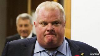 Toronto Mayor Rob Ford reacts to a video released of him by local media at City Hall in Toronto 7 November 2013