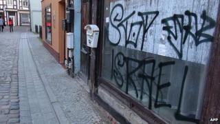 Graffiti near a synagogue in Salzwedel, Germany. 3 Oct 2013