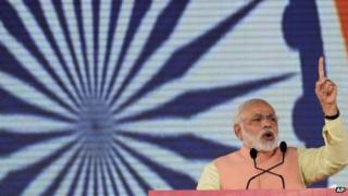 Narendra Modi addresses a rally in the Indian city of Patna October 27