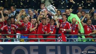 Bayern Munich lift the Champions League trophy at Wembley Stadium on May 25 2013