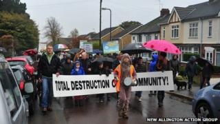 Allington protest march