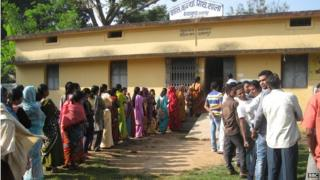 Voters at a polling station in Chhattisgarh