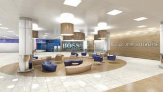 Artist impression of what the refurbished arrivals hall will look like at Glasgow Airport