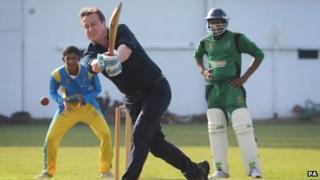 David Cameron playing cricket
