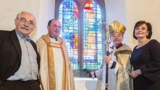 Left to right, John Burton, Revd Michael Gobbett, Bishop of Jarrow, Cherie Blair
