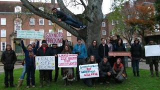 Protesters outside West Sussex County Council building