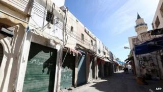 Tripoli shops closed for a strike on 17 November 2013