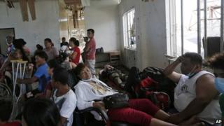 A make-shift hospital waiting room in a damaged building in the Philippines
