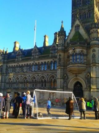 Remembrance Day football match at Bradford Centenary Square