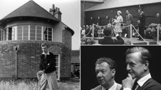 Britten in 1939 (l); Britten at opening of Snape in 1967 (top); Britten and Peter Pears (bottom)
