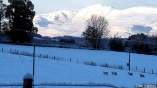 Snow, looking north-west from Moniack in the Highlands: [Pic by Debby Waldron]