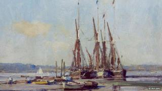 Boats On The Hard, Pin Mill by Edward Seago (detail)