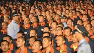 File photo of inmates at a labour camp in Bajing town in Jiangxi province, 27 September 2012