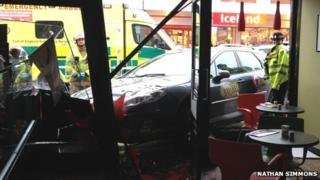 Taxi accident at bakery in Gorleston