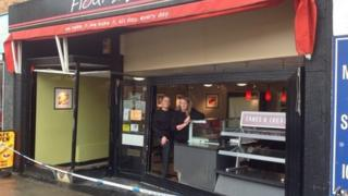 Flour and bean cafe after taxi drives through window