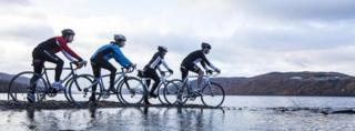 Cyclists at Loch Ness