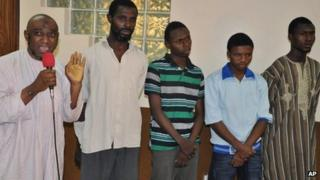 Suspected Boko Haram sect members from left - Muhammed Nazeef Yunus, Umar Musa, Mustapha Yusuf, Ismaila Abdulazeez, and Ibrahim Isah - are paraded by Nigeria's secret police, in Abuja, Nigeria - 20 Wednesday November 2013