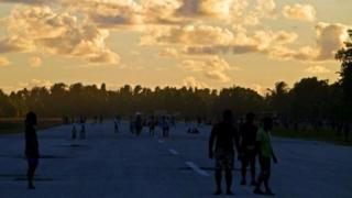 Runway and football ground in Tuvalu