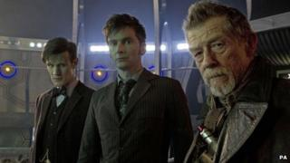 Matt Smith, David Tennant and John Hurt in Doctor Who