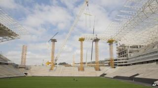 Construction works at the Arena Corinthians. Photo: August 2013