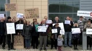 The protest in Aberystwyth